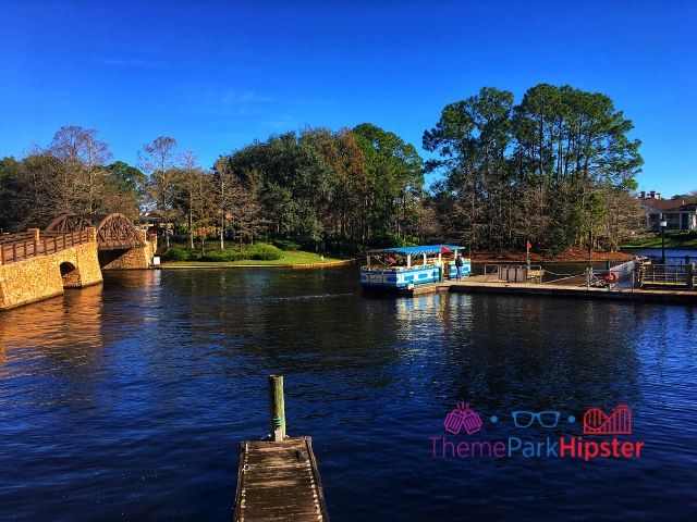 Port Orleans Riverside Resort with Boat Heading to Disney Springs