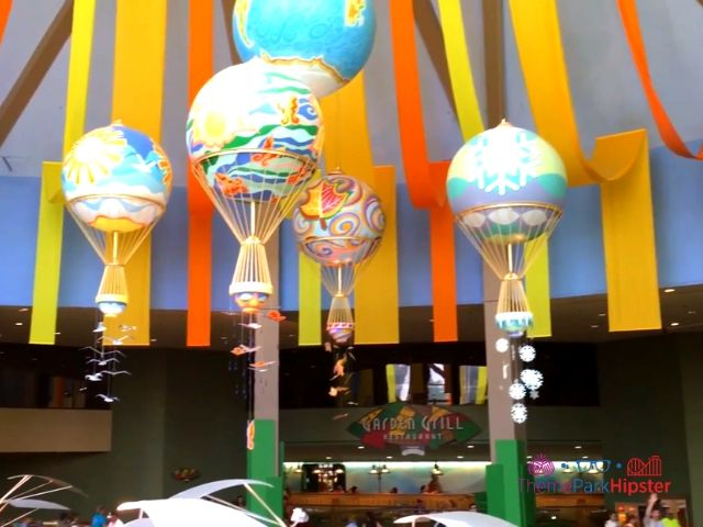 Soarin Around the World Land Pavilion with Air balloons representing the 4 seasons