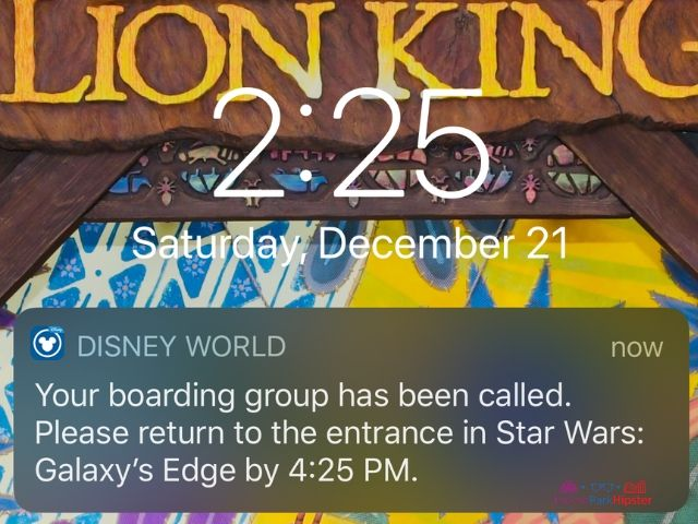 Star Wars Rise of the Resistance Boarding Pass Number Called. Alert sent to phone.