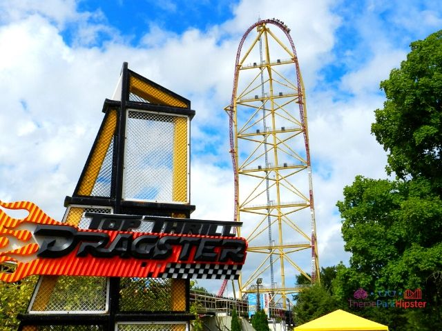 Top Thrill Dragster at Cedar Point Roller Coaster Going Over the Hill