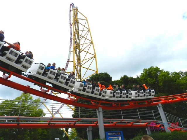 Top Thrill Dragster at Cedar Point Roller Coaster with Magnum XL going by