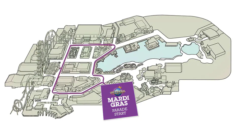 Universal Studios Orlando Mardi Gras Parade Route Screenshot from official Universal Orlando