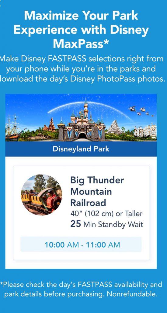 Disneyland MaxPass Ride Wait Times in App.