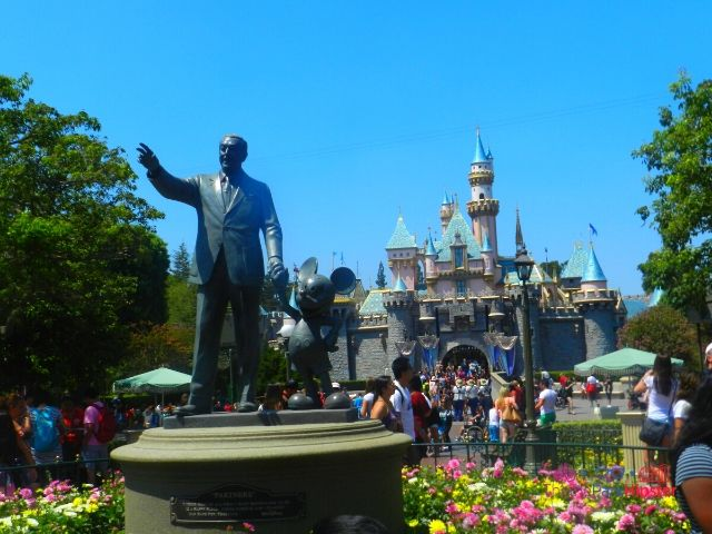 Disneyland Sleeping Beauty Castle with Partners Statue of Walt and Mickey