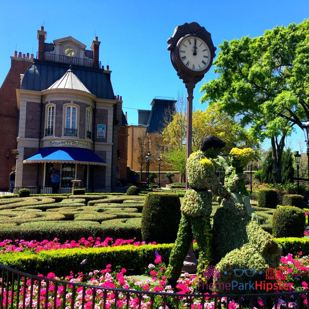 Epcot Flower and Garden Festival Cinderella and Prince Charming Topiary in France Pavilion