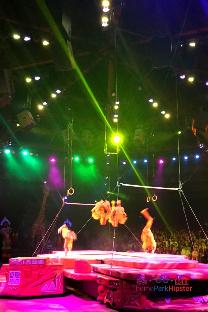 Festival of Lion King at Animal Kingdom with Monkey Acrobats. Safety tips for solo travel.