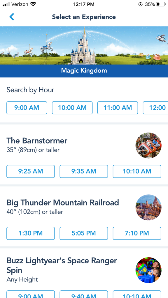 Magic Kingdom FastPass Tiers on myDisney Experience App