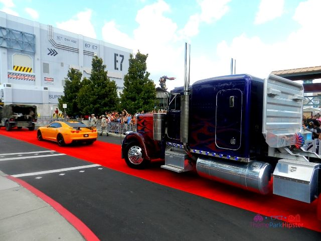 Transformers the Ride Universal Studios Grand Opening Day with Optimus Prime Truck and Bumble Bee Car