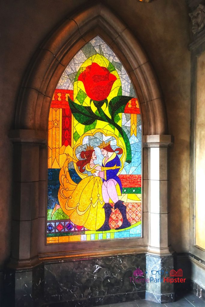 Be Our Guest Restaurant Belle and Prince Mural Window Stain