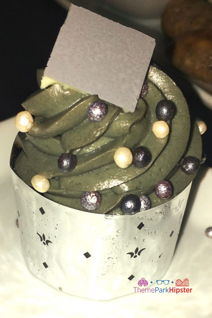 Be Our Guest Restaurant Grey Stuff Cupcake in Silver Wrapping