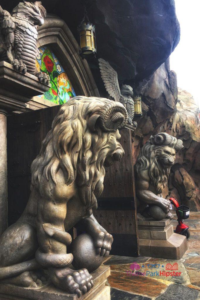 Be Our Guest Restaurant Lion Statue at Entrance