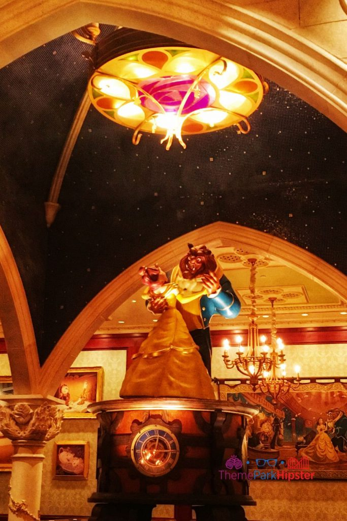 Be Our Guest Restaurant Rose room with Bell and Beast Dancing