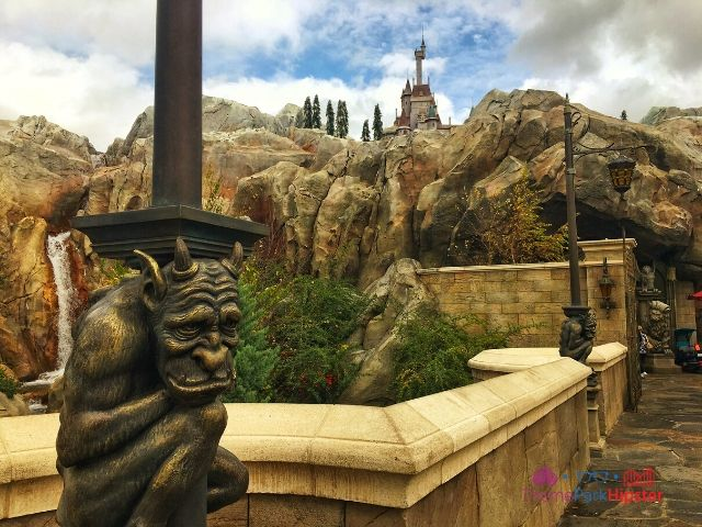Be Our Guest Restaurant with gargoyle and castle. One of the best restaurants at Disney World.