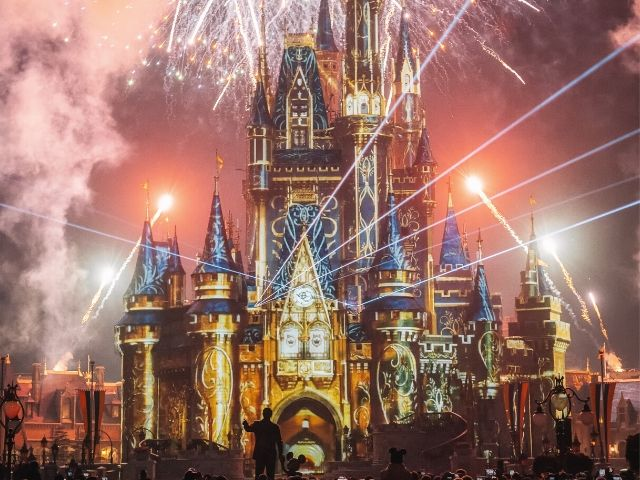 Happily Ever After Fireworks Show at Disney Magic Kingdom over Cinderella Castle Orlando theme park deals.