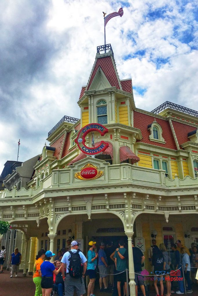 Main Street USA at Magic Kingdom Casey Corner. Best restaurants magic kingdom