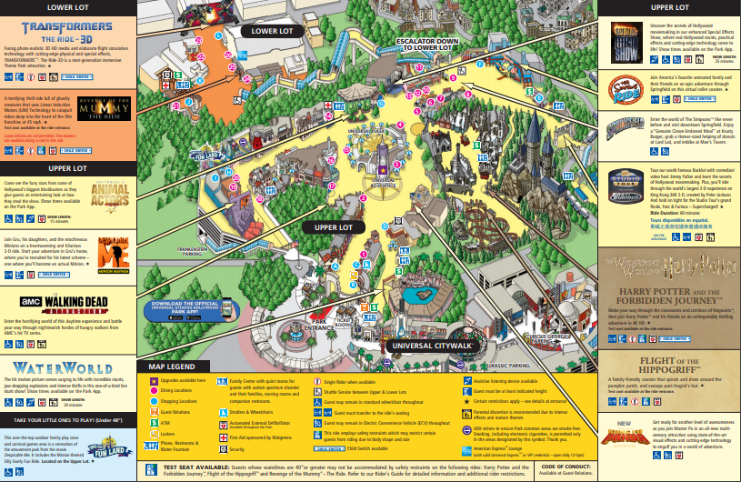 Universal Studios Hollywood Map 2020