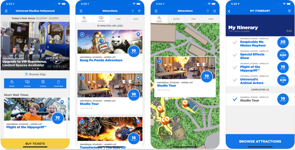 Universal Studios Hollywood iPhone App Screenshots