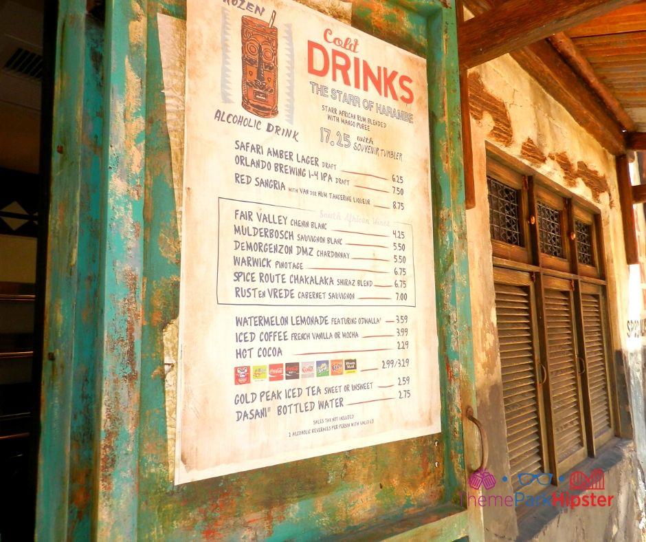 Animal Kingdom Africa Harambe Village Drink Menu
