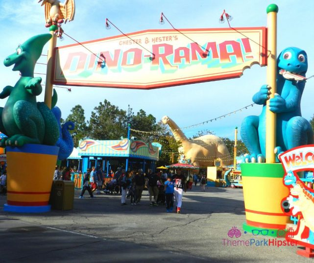 Animal Kingdom Dinoland USA Dino Rama Entrance with Chester and Hester Green and Blue Dinosaurs