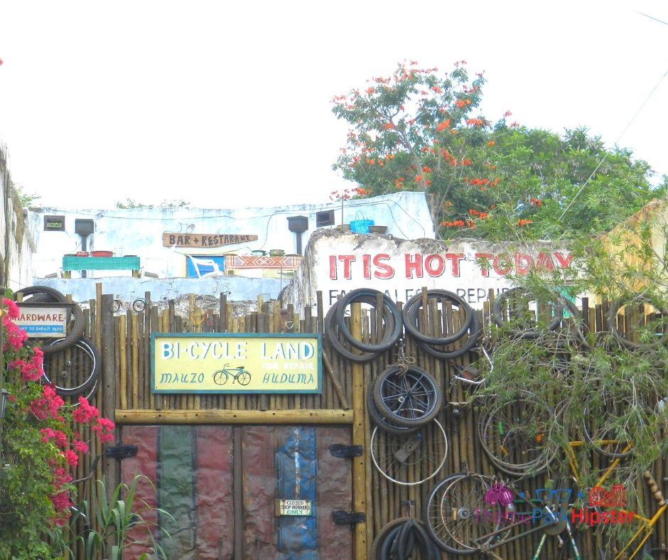 Animal Kingdom Harambe Village with Bike Wheels everywhere
