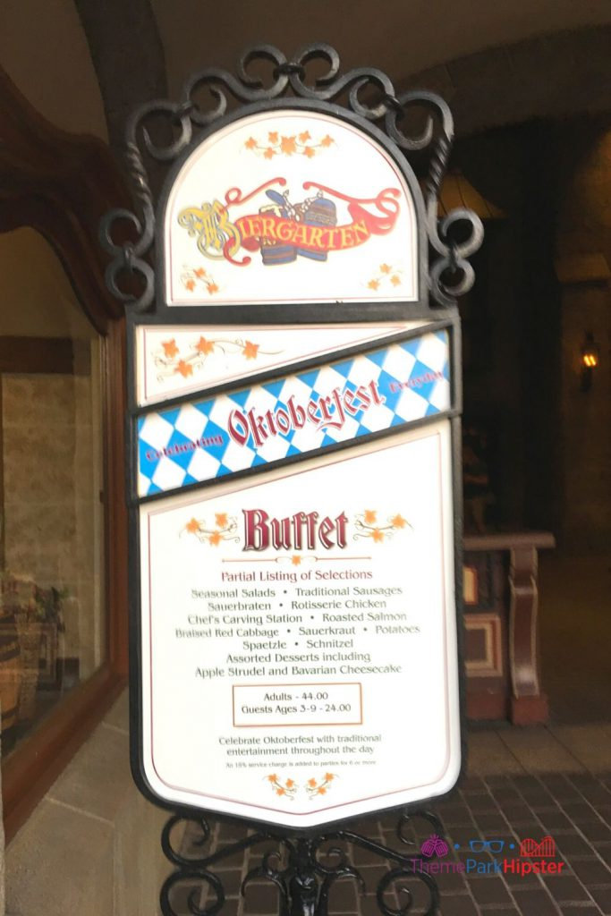 Biergarten in Germany Pavilion Buffet Menu