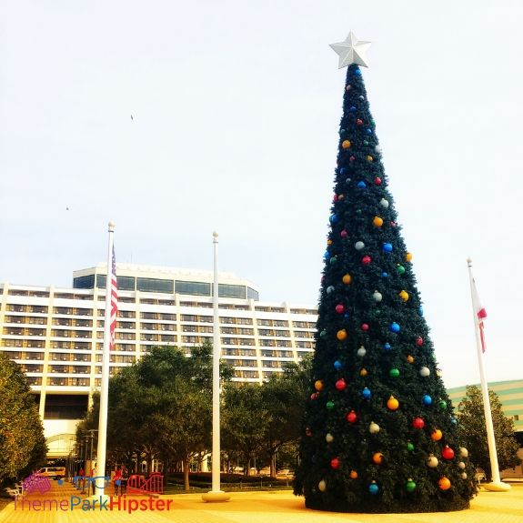 Disney Contemporary Resort with giant Christmas Tree in the front