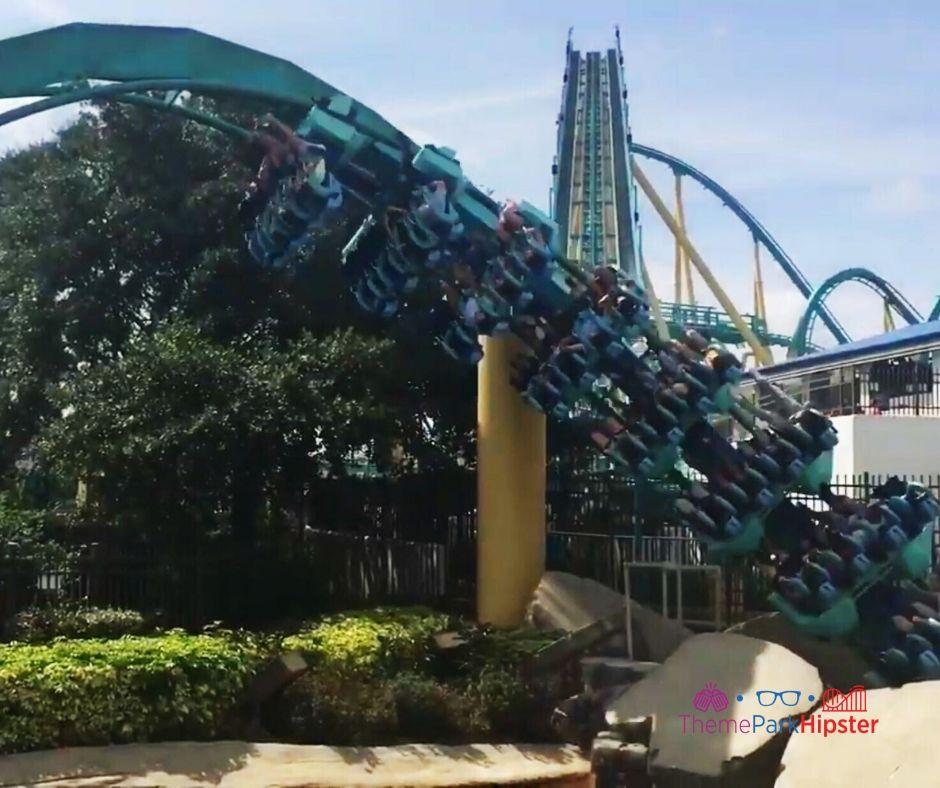 Kraken Roller Coaster going upside down at SeaWorld Orlando
