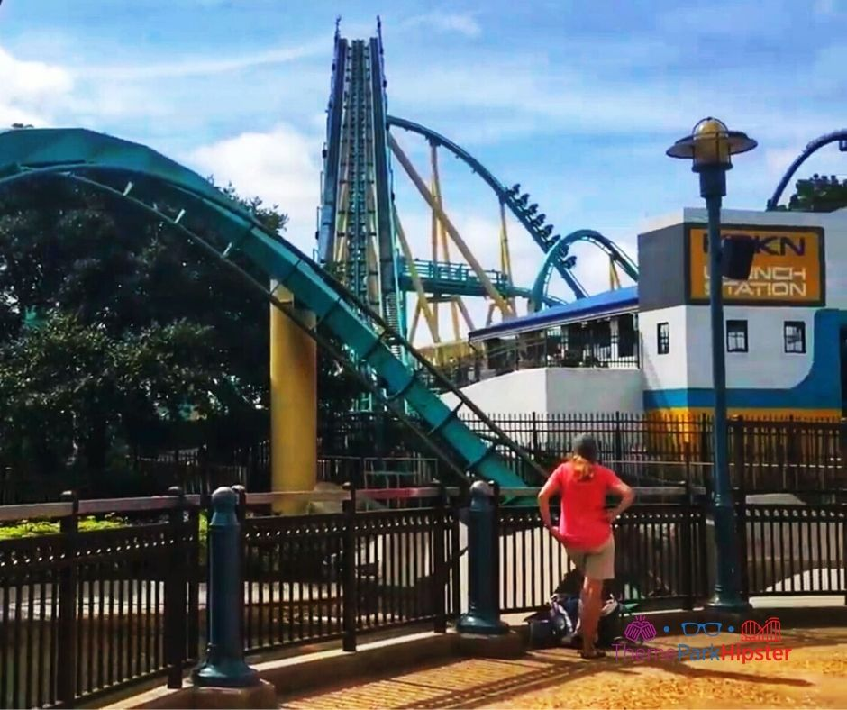 SeaWorld Orlando deep sea roller coaster Kraken lift hill.