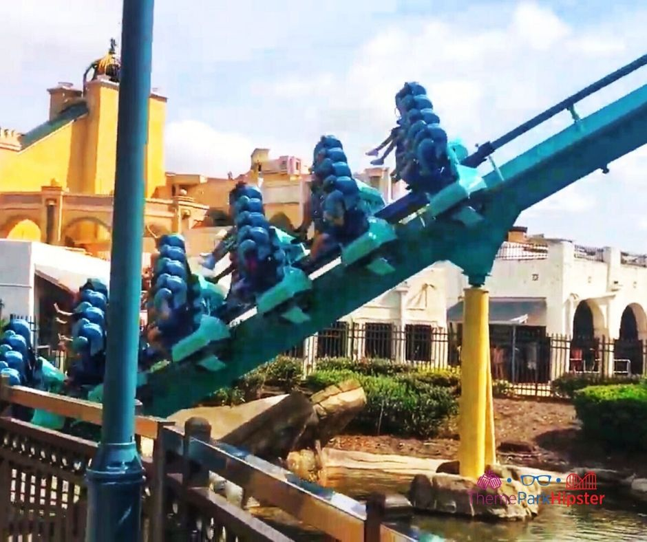 Kraken Roller Coaster plunging into the lair at SeaWorld Orlando.