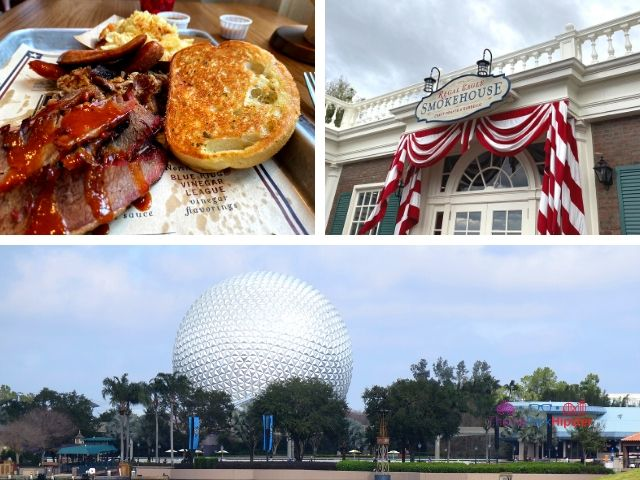 Regal Eagle Smokehouse at Epcot Guide with delicious beef brisket and iconic Epcot ball