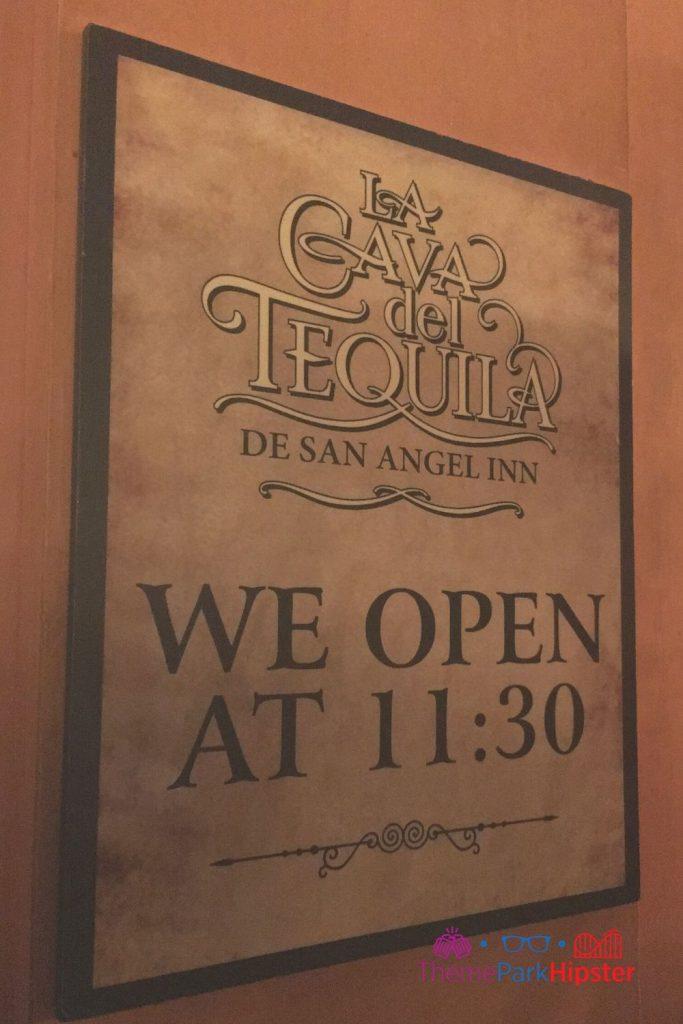 Epcot Mexico Pavilion La Cava del Tequila Opening Hours sign
