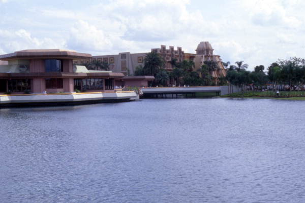 View looking toward the Mexico Pavilion in EPCOT Center at the Walt Disney World Resort 1982 in Orlando, Florida