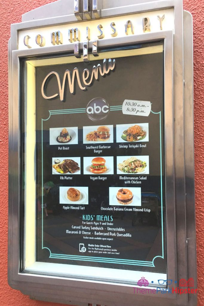 ABC Commissary Hollywood Menu. One of the best restaurants at Disney World.