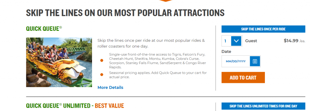 Busch Gardens Quick Queue Website Snapshot