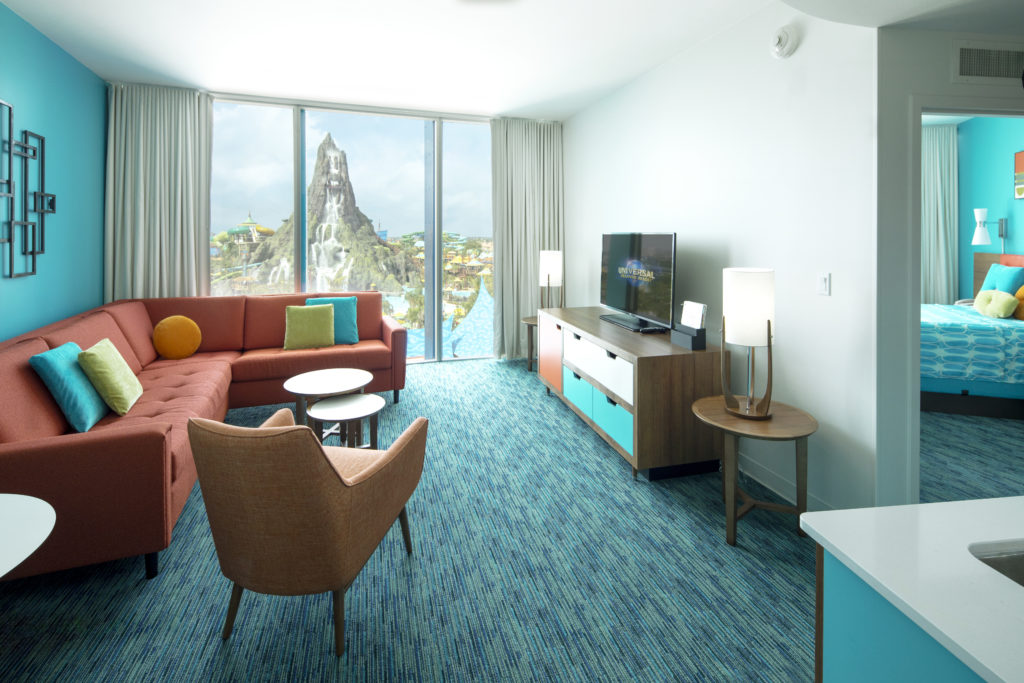 Cabana Bay Beach Resort Expansion Room Shoot, Bayside Tower, overlooking Volcano Bay