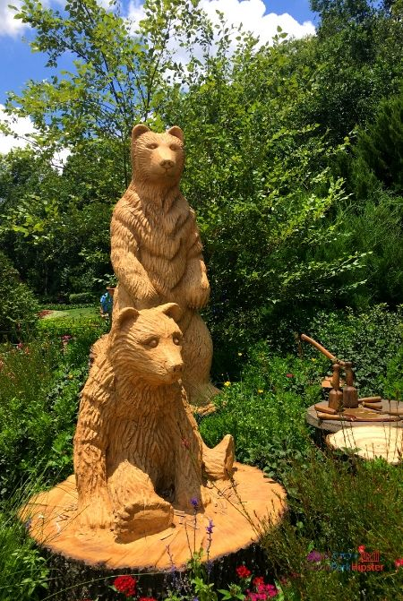 Canada Pavilion at Epcot with Wooden Carved Bears