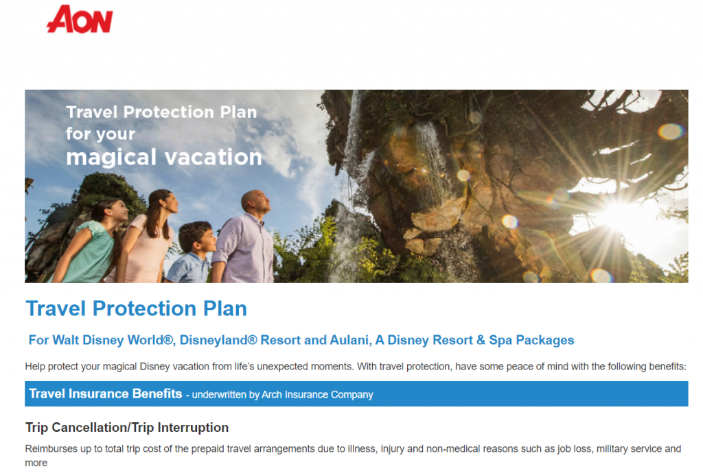 Disney World Travel Insurance with Aon