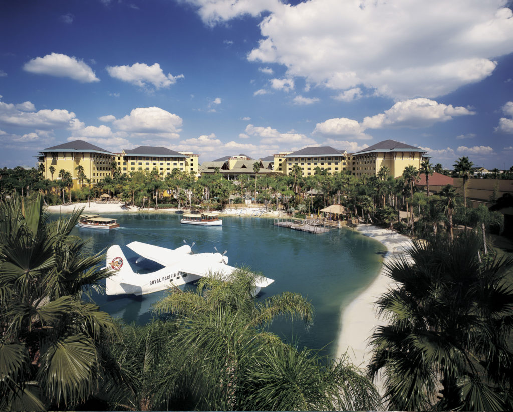Loews Royal Pacific A TOUCH OF THE TROPICS with elaborate landscaping, waterfalls and lagoons.  Universal Orlando on-site hotels next to Universal Studios, Islands of Adventure, and CityWalk are just a relaxing boat ride away.
