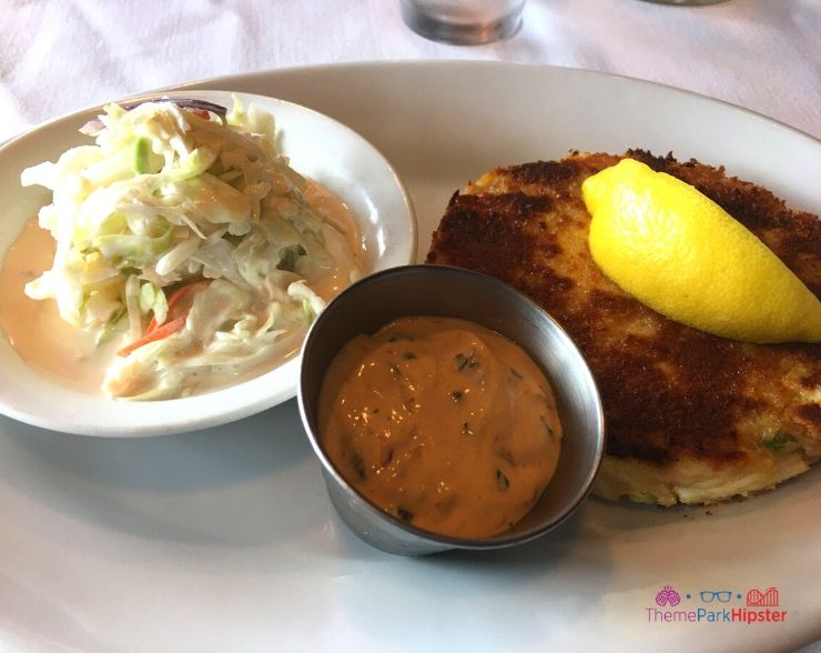 The Boathouse Orlando Crab Cake with Lemon and Coleslaw