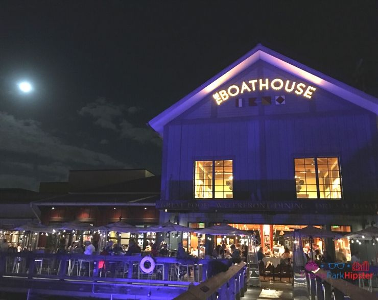 The Boathouse Orlando at night in the moonlight