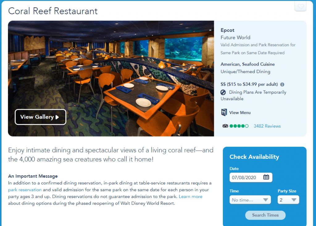 Making dining reservations at Cora Reef on Disney Website