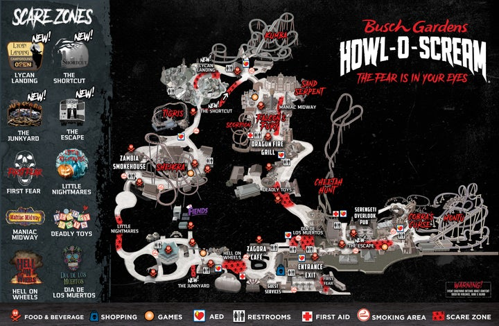 Tampa Howl-O-Scream 2020 Map with Scarezones PDF