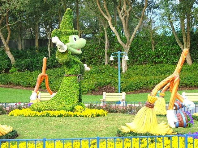Mickey Mouse Topiary from Fantasia Film at Disney World Passholder benefits.