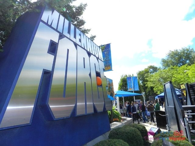 Millennium Force front entrance logo sign at Cedar Point