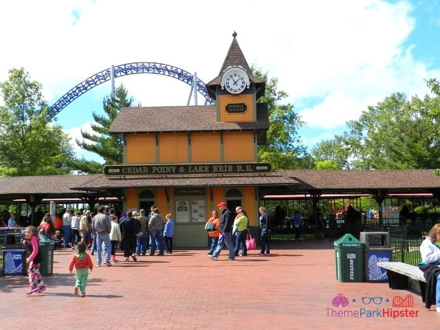 Millennium Force track over the Lake Erie Railroad Station at Cedar Point