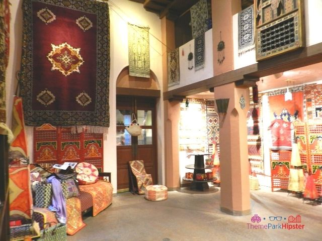 Morocco Pavilion at Epcot The Brass Bazaar Interior with intricate rugs