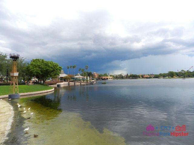 Rain on the horizon over World Showcase Lagoon at Epcot 16