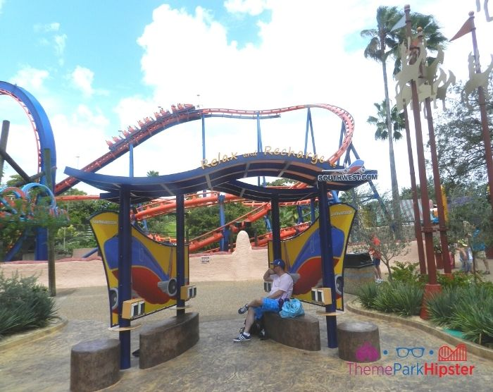 Scorpion Roller Coaster at Busch Gardens Track Curve near phone charging station