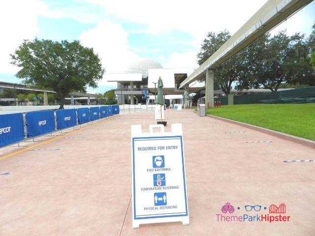 Temperature Checks at Epcot Disney Rules Social Distancing Signs
