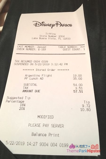 Tiffins Disney Cost and Receipt